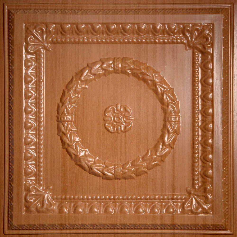 Ceilume Evangeline Faux Wood-Caramel 2 ft. x 2 ft. Lay-in or Glue-up Ceiling Panel (Case of 6)