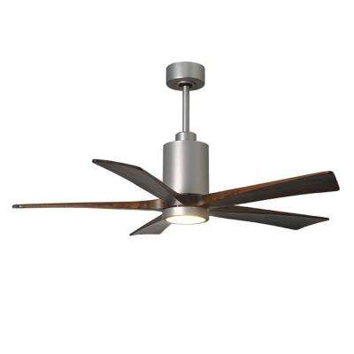 Patricia 52 in. LED Indoor/Outdoor Damp Brushed Nickel Ceiling Fan with Light with Remote Control and Wall Control
