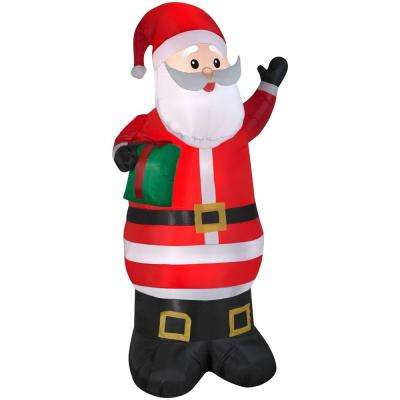 39.37 in. W x 32.68 in. D x 77.95 in. H Inflatable Airblown Santa with Present