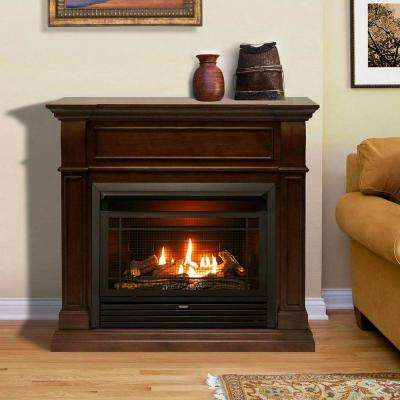 44 in. Ventless Dual Fuel Gas Fireplace in Walnut with Thermostat Control