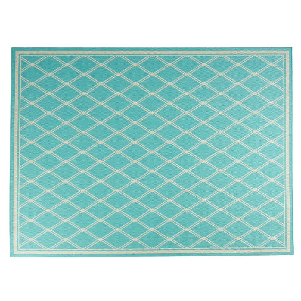 Noble House Luxor Teal And Ivory 7 Ft X 10 Ft Diamond Outdoor Area Rug 81867 The Home Depot
