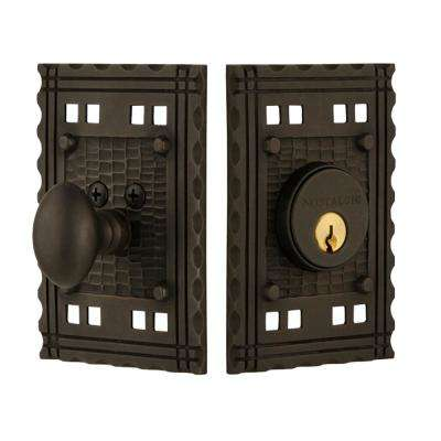 Craftsman Plate 2-3/4 in. Oil Rubbed Bronze Backset Single Cylinder Deadbolt