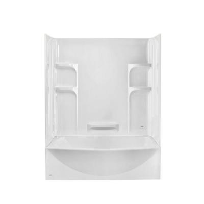 Ovation 30 in. x 60 in. x 75 in. Standard Fit Bathtub Kit with Right-Hand Drain in Arctic