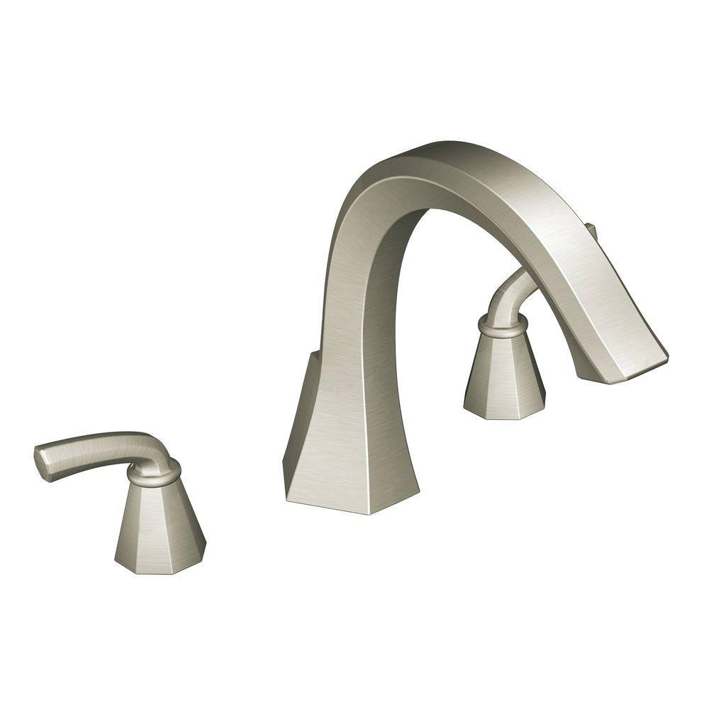 MOEN Felicity 2-Handle Deck-Mount Roman Tub Faucet Trim in Brushed Nickel