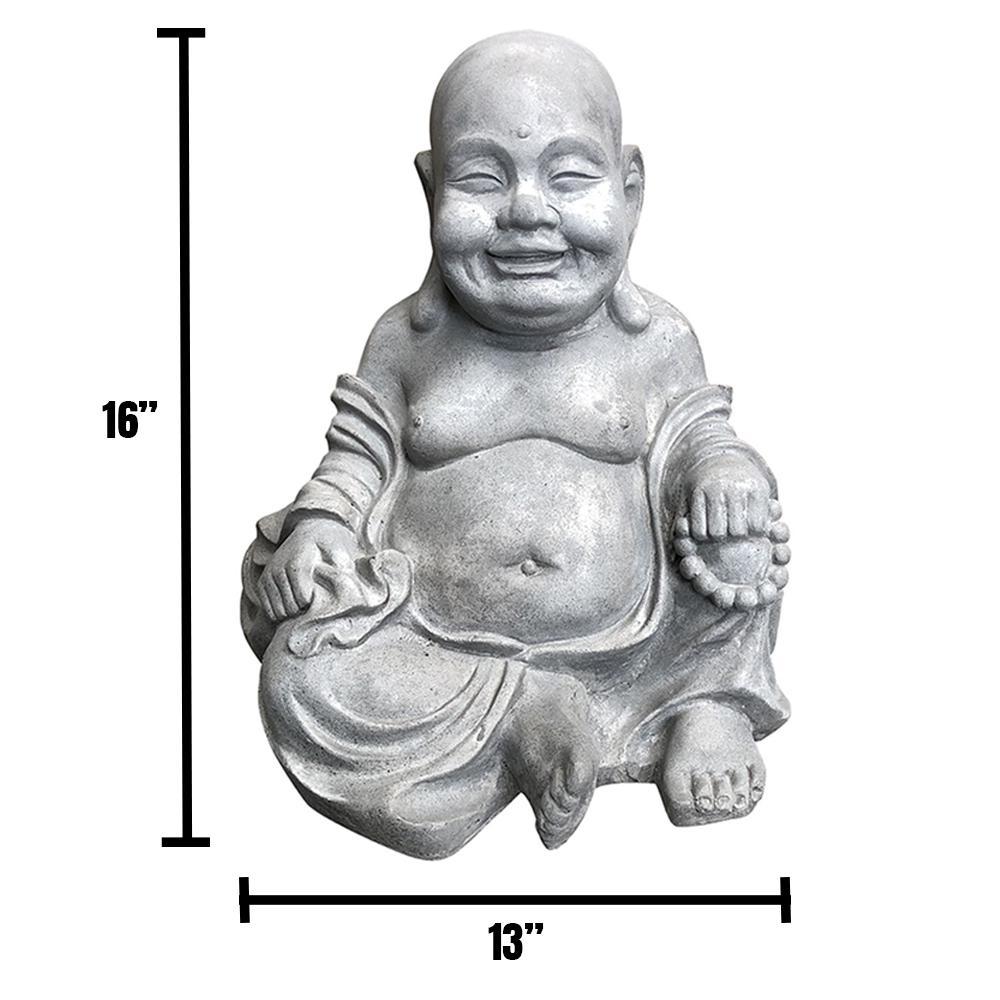 DurX-litecrete 15.7 in. H Light Grey Lightweight Concrete Happy Buddha Statues