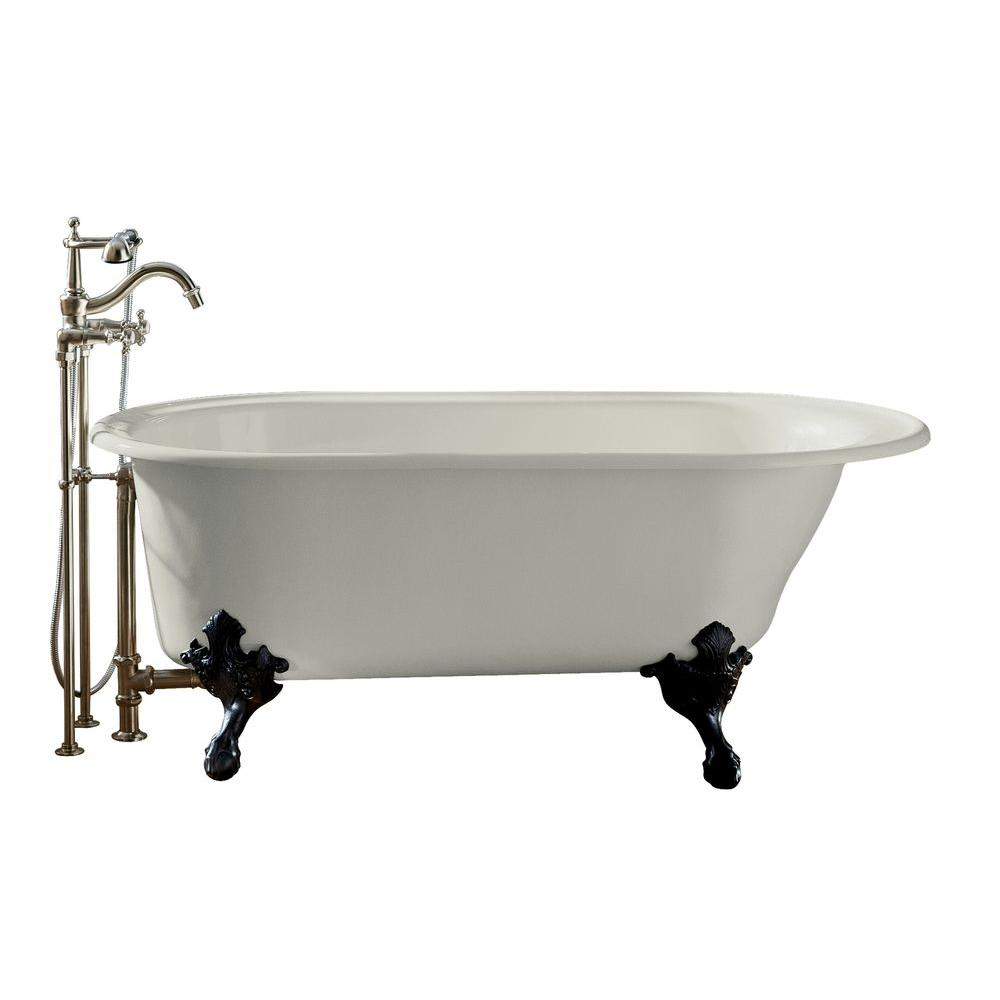 Reversible Drain Historic Cast Iron Bathtub In White