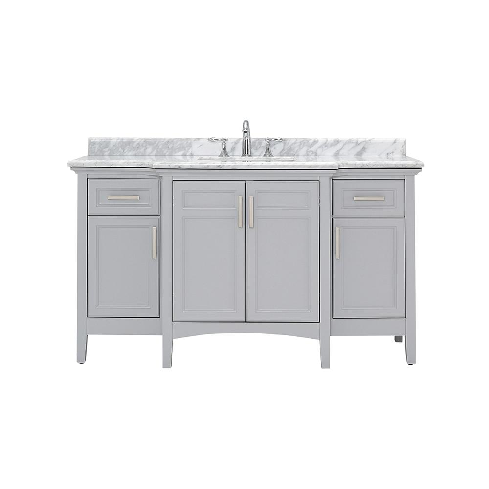 Home Decorators Collection Sassy 60 in. W x 22 in. D Vanity in Dove Gray with Marble Vanity Top in White with White Sink