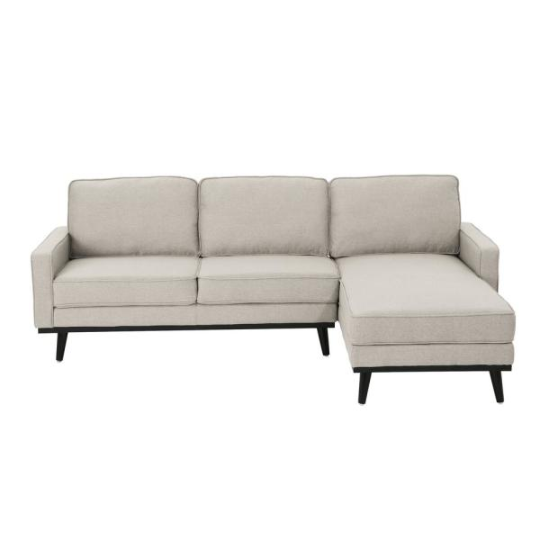 Noble House Matilda Mid-Century Modern 2-Piece Beige Fabric Chaise Sectional