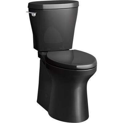 Betello 2-Piece 1.28 GPF Single Flush Elongated Toilet in Black Black (Seat Not Included)