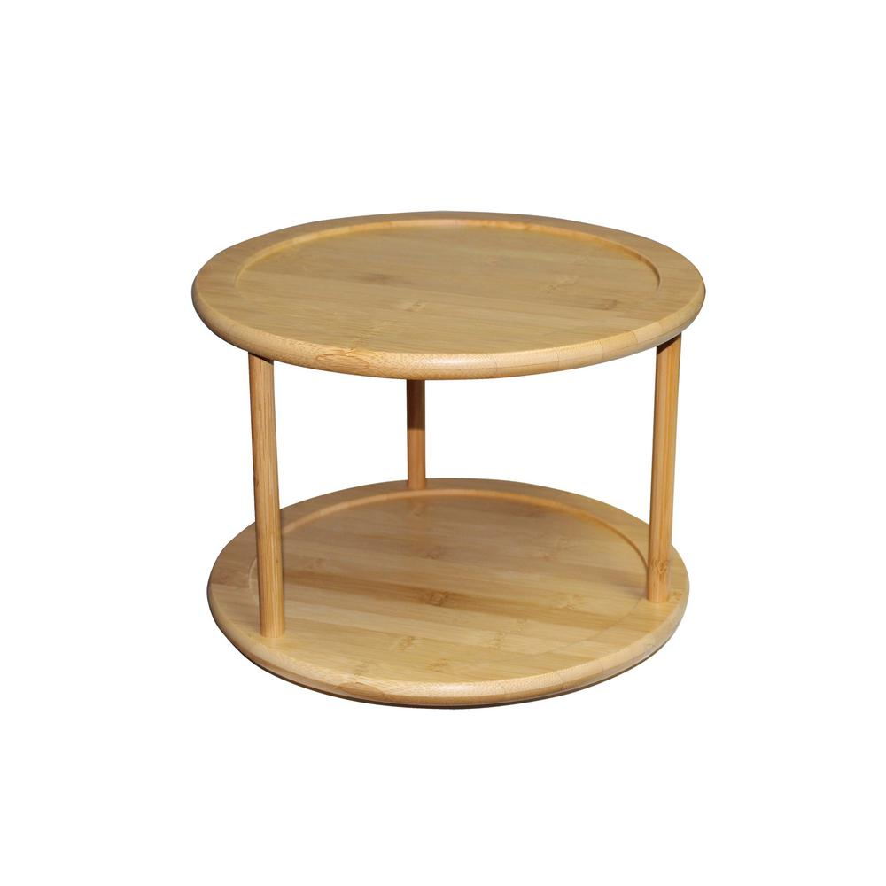 Home Basics Bamboo 2 Tier Lazy Susan Bh01852 The Home Depot