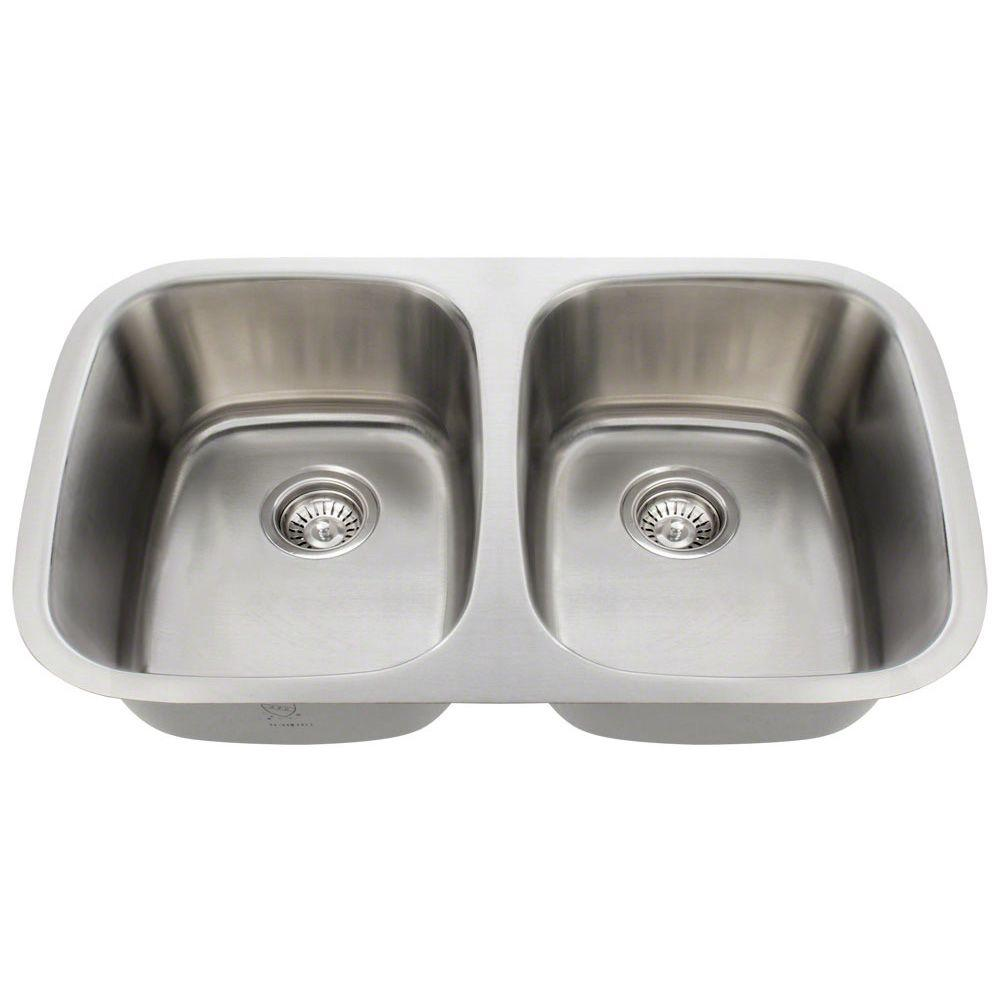 polaris sinks undermount stainless steel 29 in double bowl kitchen sink p015 16 the home depot. Black Bedroom Furniture Sets. Home Design Ideas