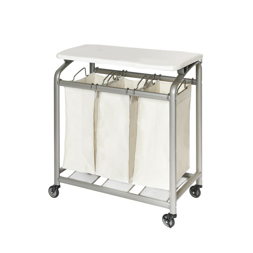 - Seville Classics 3-Bag Laundry Sorter With Folding Table-WEB182