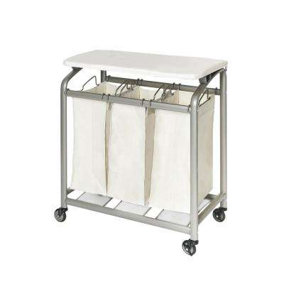 3-Bag Laundry Sorter with Folding Table