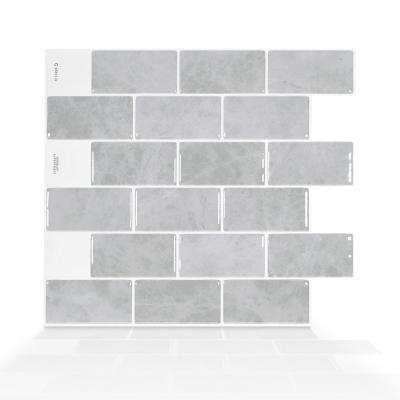 Subway Fondi 10.95 in. W x 9.70 in. H Grey Peel and Stick Self-Adhesive Decorative Mosaic Wall Tile Backsplash