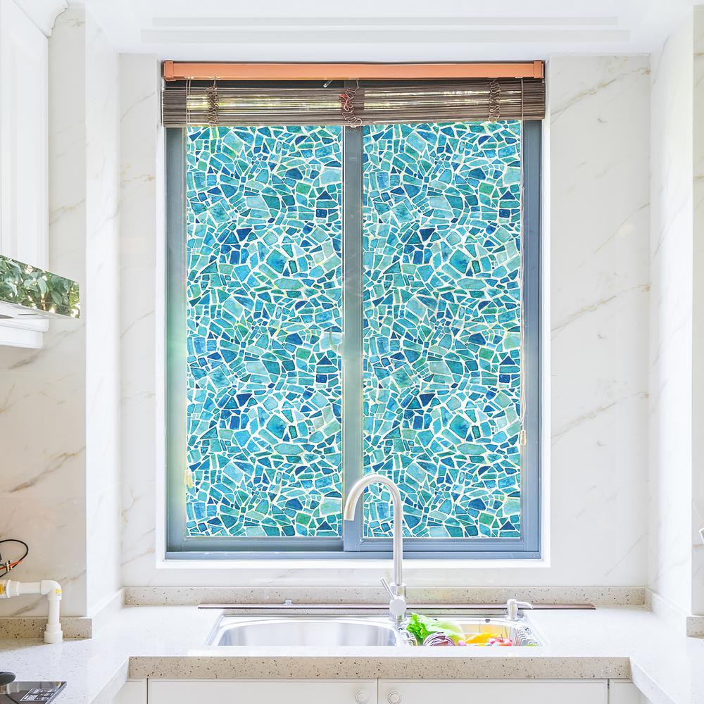70.86 in. x 17.71 in. Blue Mosaic Premium Window Film