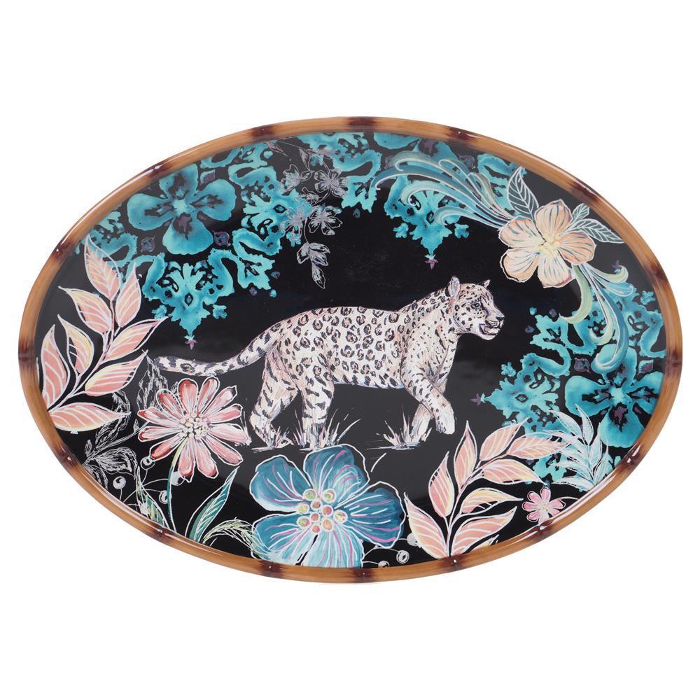 16 in. Multi-Colored  Stoneware Exotic Jungle Oval Platter