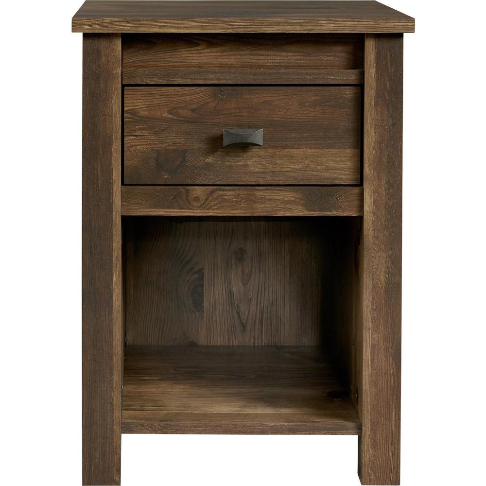 Ameriwood Brownwood Rustic Medium Brown 1-Drawer Nightstand