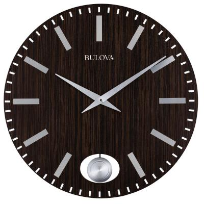 24 in. H x 24 in. W Zebrawood Case Round Wall Clock