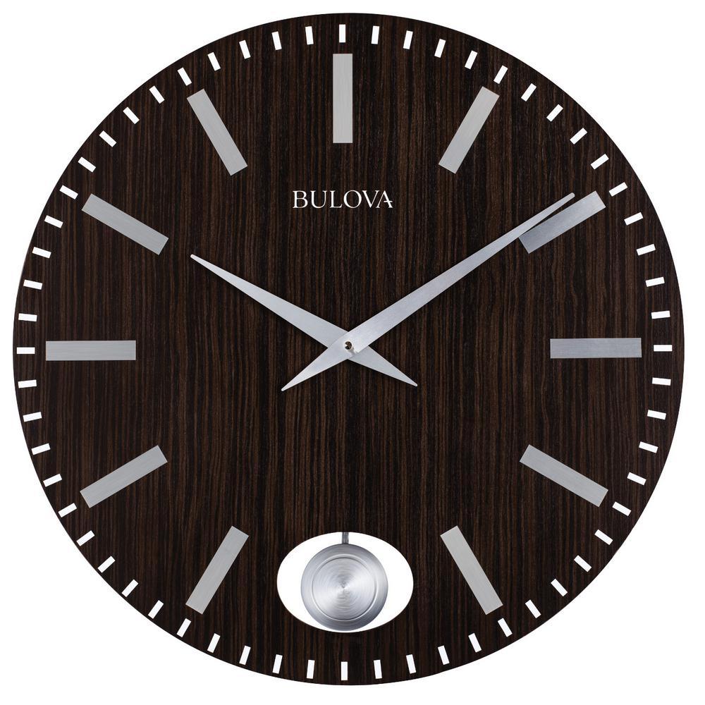 Bulova 24 in. H x 24 in. W Zebrawood Case Round Wall Clock