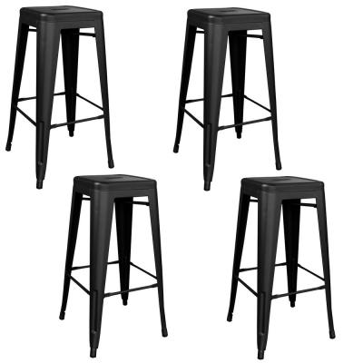 Loft Series 30 in. Black Indoor/Outdoor Stackable Anti-Rust Coated Metal Bar Stool (Set of 4)