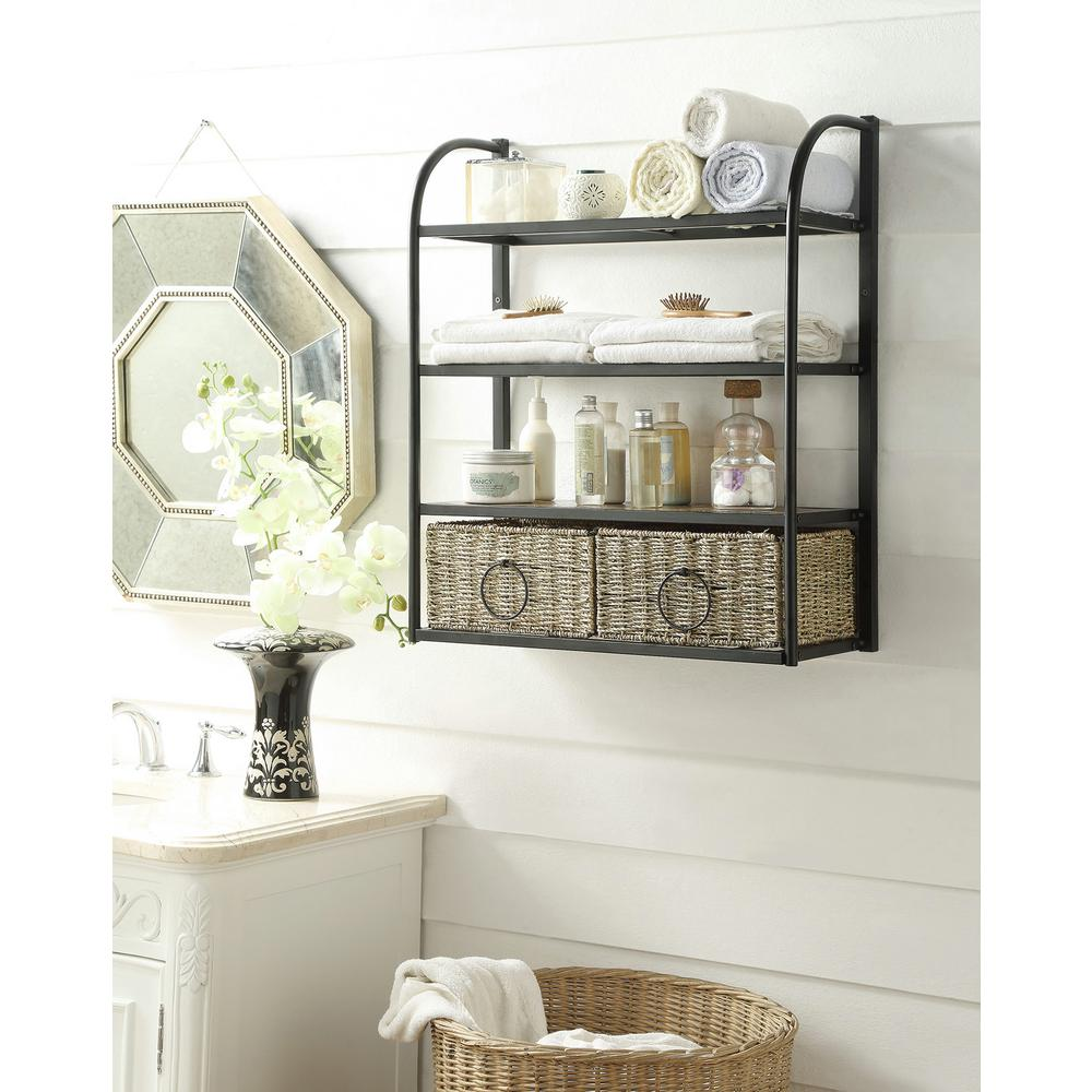 4d Concepts Windsor 24 In W Storage Rack With Two Baskets In Brown 603120 The Home Depot