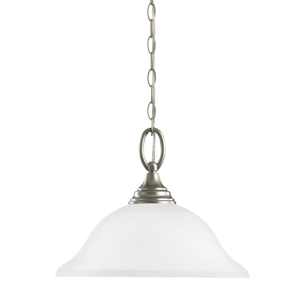 Wheaton 1-Light Brushed Nickel Pendant with LED Bulb