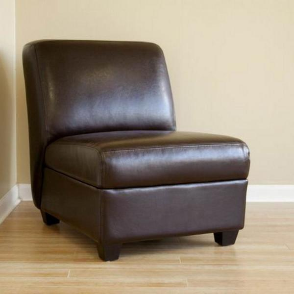 Baxton Studio Baxton Dark Brown Faux Leather Upholstered Accent Chair