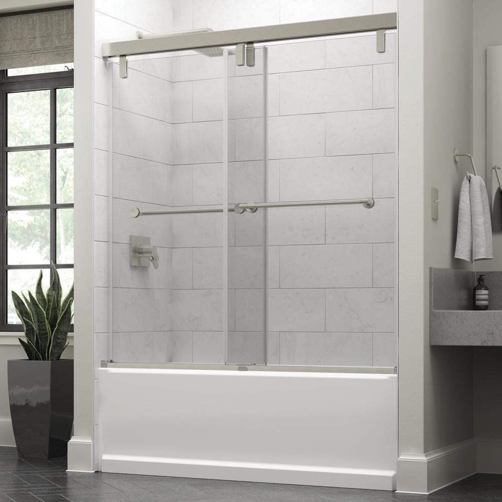 Crestfield 60 in. x 59-1/4 in. Mod Semi-Frameless Sliding Bathtub Door in Nickel and 3/8 in. (10mm) Clear Glass