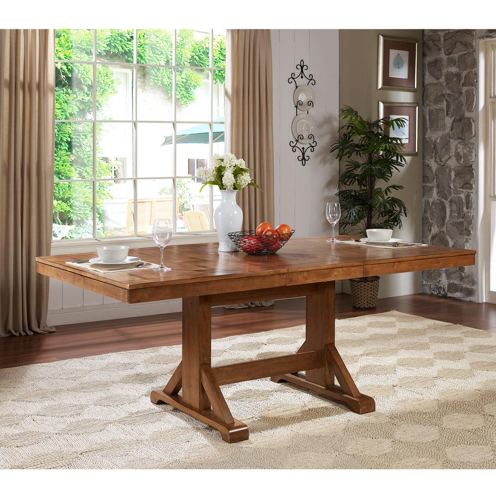 WalkerEdisonFurnitureCompany Walker Edison Furniture Company Millwright Antique Brown Extendable Dining Table