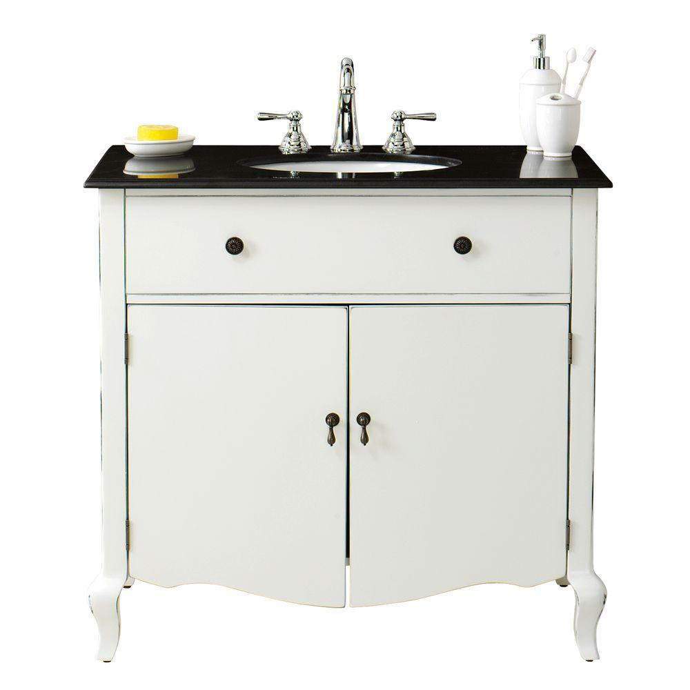 Home Decorators Collection Camille 36 in. W Vanity in Antique White with Vanity Top in Black