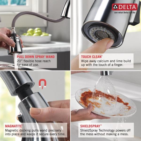 Delta Deluca Single Handle Pull Down Sprayer Kitchen Faucet With Shieldspray Technology And Soap Dispenser In Stainless 19912z Sssd Dst The Home Depot