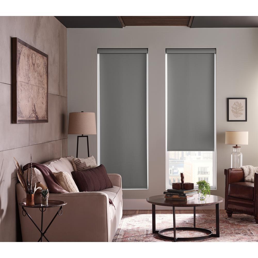 StyleWell Gray Light Filtering Fabric Roller Shade - 55.25 ...