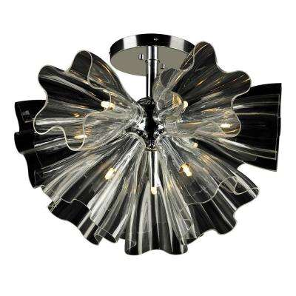9-Light Polished Chrome Clear Glass Semi Flush Mount