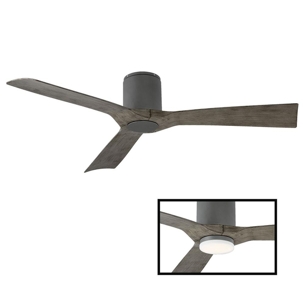 Modern Forms Aviator 54 in. Indoor and Outdoor 3 Blade Smart Flush Mount Ceiling Fan in Graphite Weathered Gray LED Light Adaptable