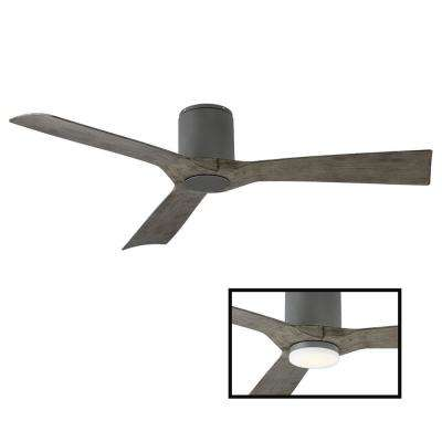 Aviator 54 in. Indoor and Outdoor 3 Blade Smart Flush Mount Ceiling Fan in Graphite Weathered Gray LED Light Adaptable