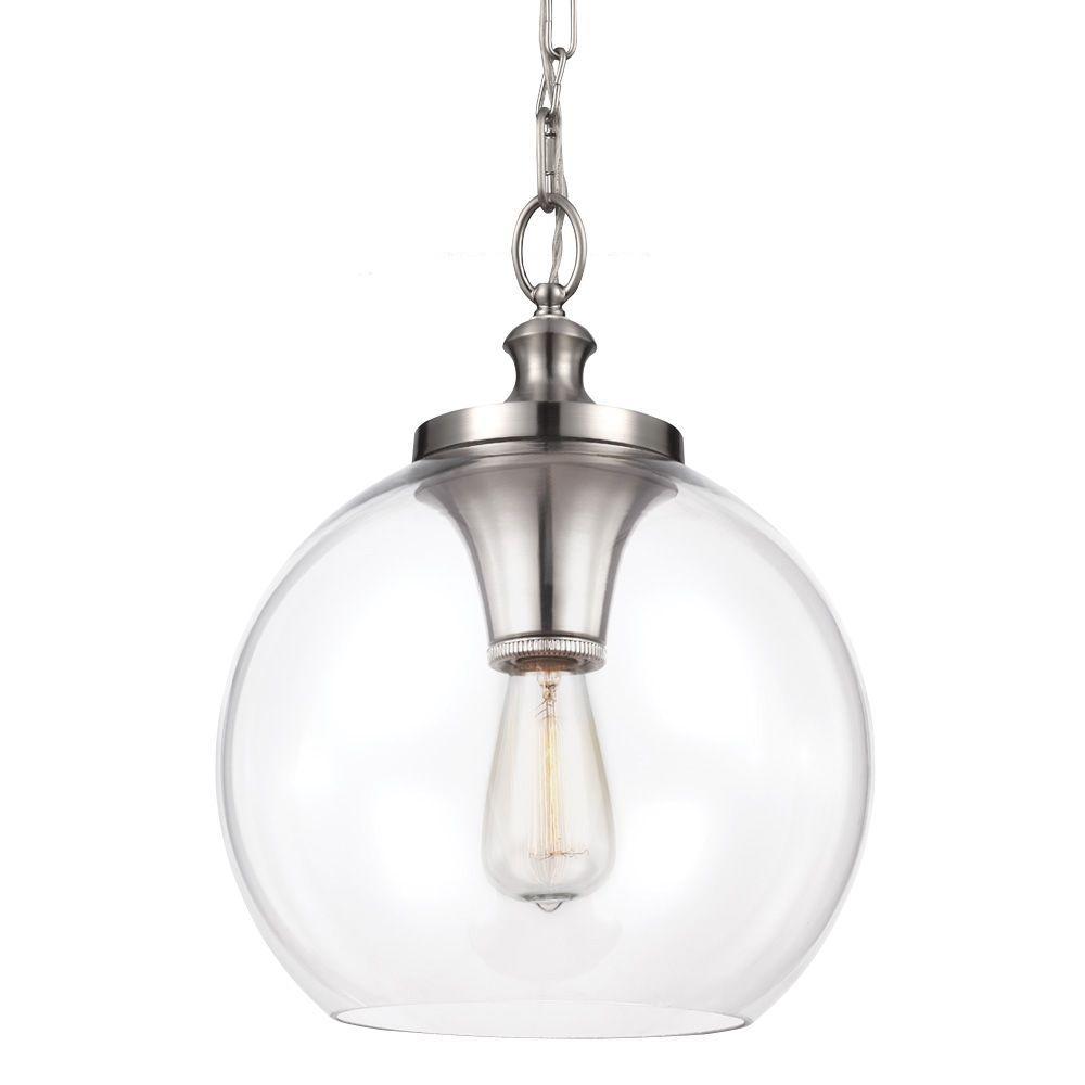 Tabby 1-Light Brushed Steel Pendant