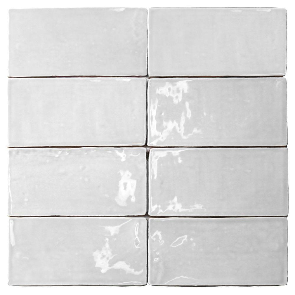 Splashback Tile Catalina White 3 In. X 6 In. X 8 Mm Ceramic Wall