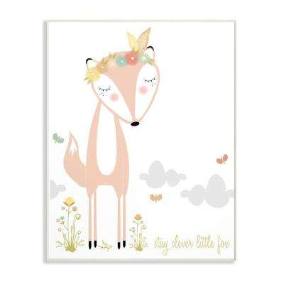 "13 in. x 19 in. ""Peach Floral and Feathered Stay Clever Little Fox"" by Karen Zukowski Printed Wood Wall Art"