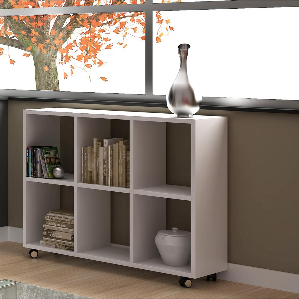 Salvador 6-Shelf White Bookcase with Cubbies, White/Matte