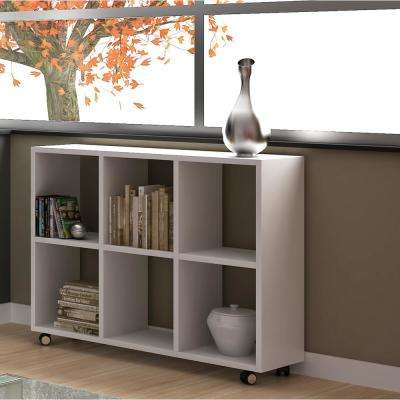 Salvador 6-Shelf White Bookcase with Cubbies