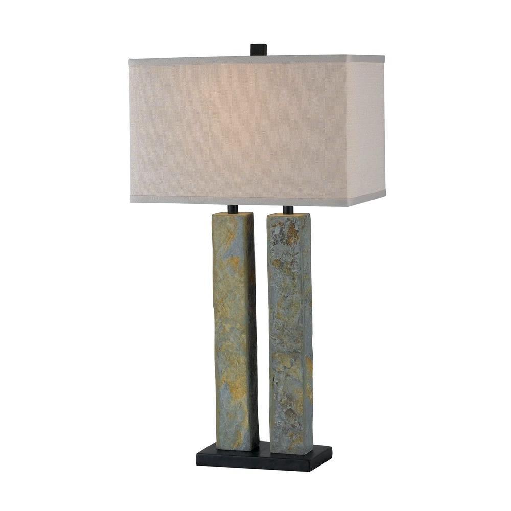 HunterKenroy Home Barre 31 in. Natural Slate Table Lamp