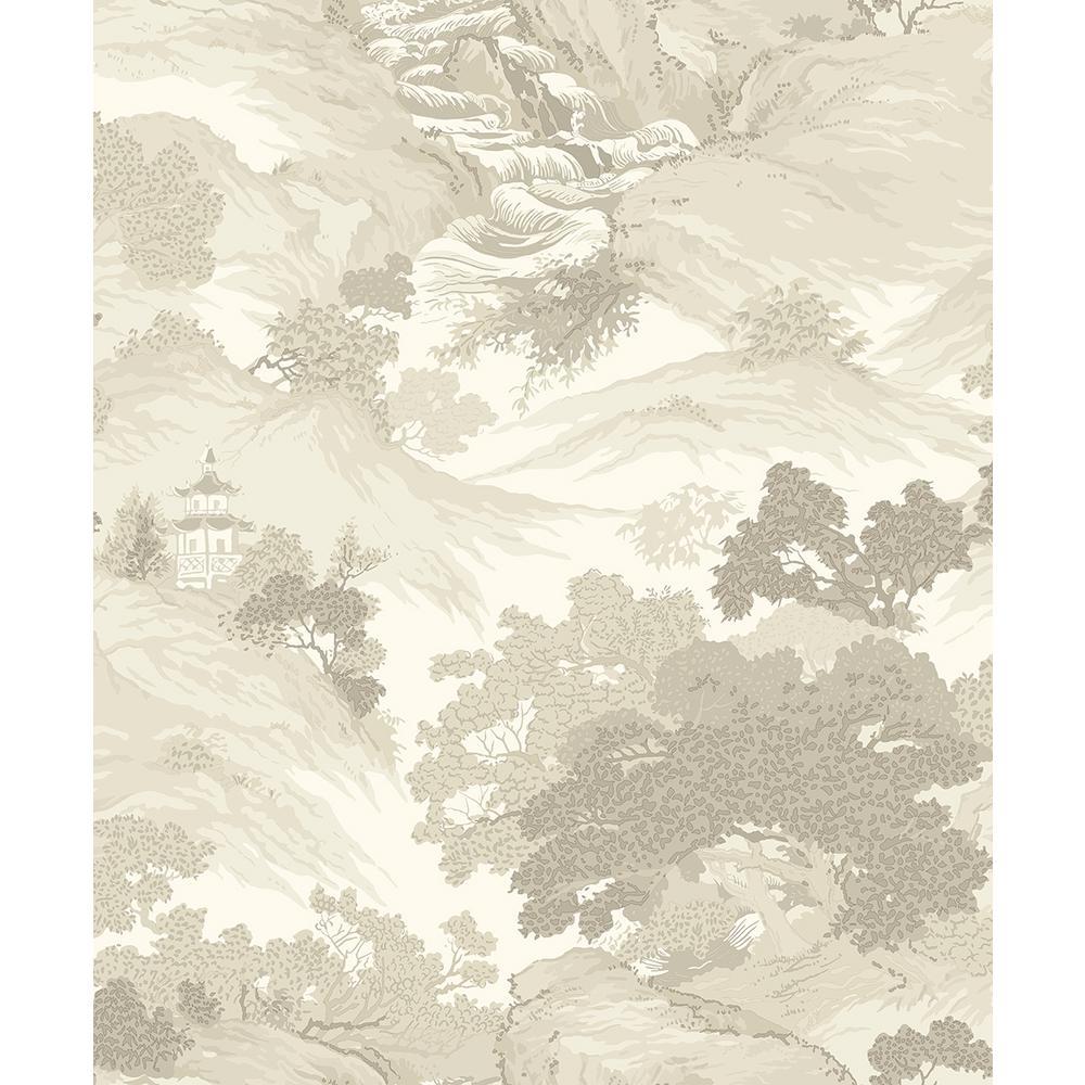 56.4 sq. ft. Ordos Cream Eastern Toile Wallpaper