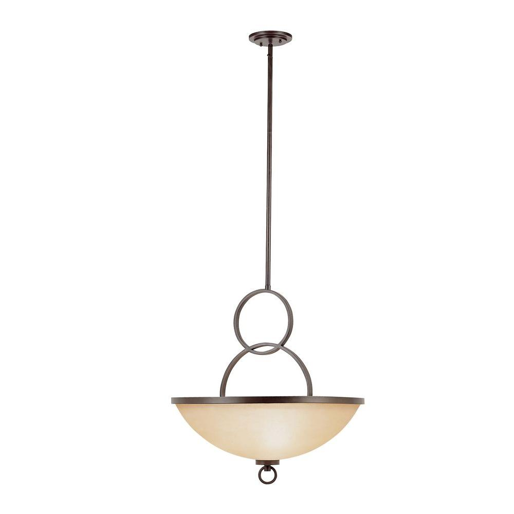 Bel Air Lighting 3-Light Antique Bronze Pendant with Champagne Frost Glass