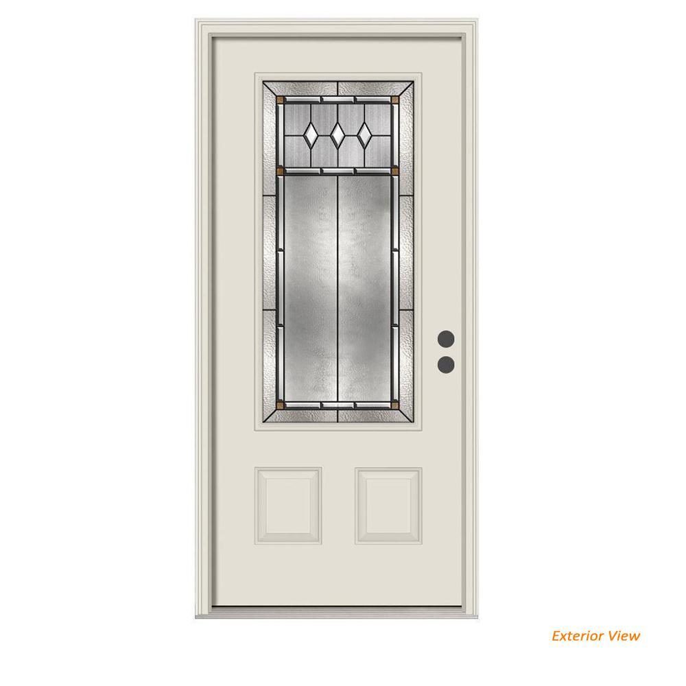 36 in. x 80 in. 3/4 Lite Mission Prairie Primed Steel Prehung Left-Hand Inswing Front Door w/Brickmould