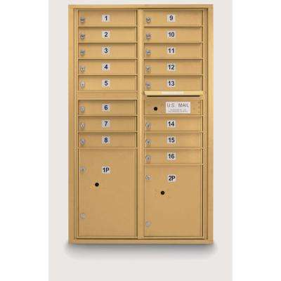 16-Compartment Standard 4C Mailbox with 2-Parcel Lockers in Gold