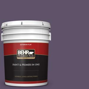Behr Premium Plus 5 Gal Ppu17 04 Darkest Grape Flat Exterior Paint And Primer In One 430005 The Home Depot