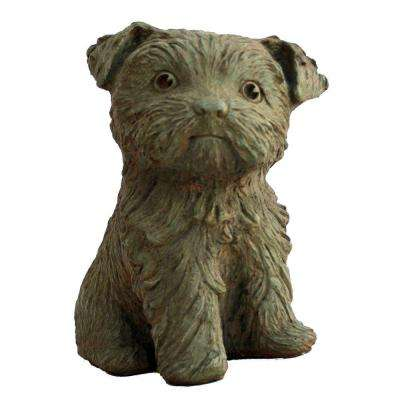 Cast Stone Yorkshire Puppy Garden Statue, Weathered Bronze