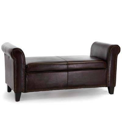 Hemmingway Brown Bonded Leather Armed Storage Bench with Studs