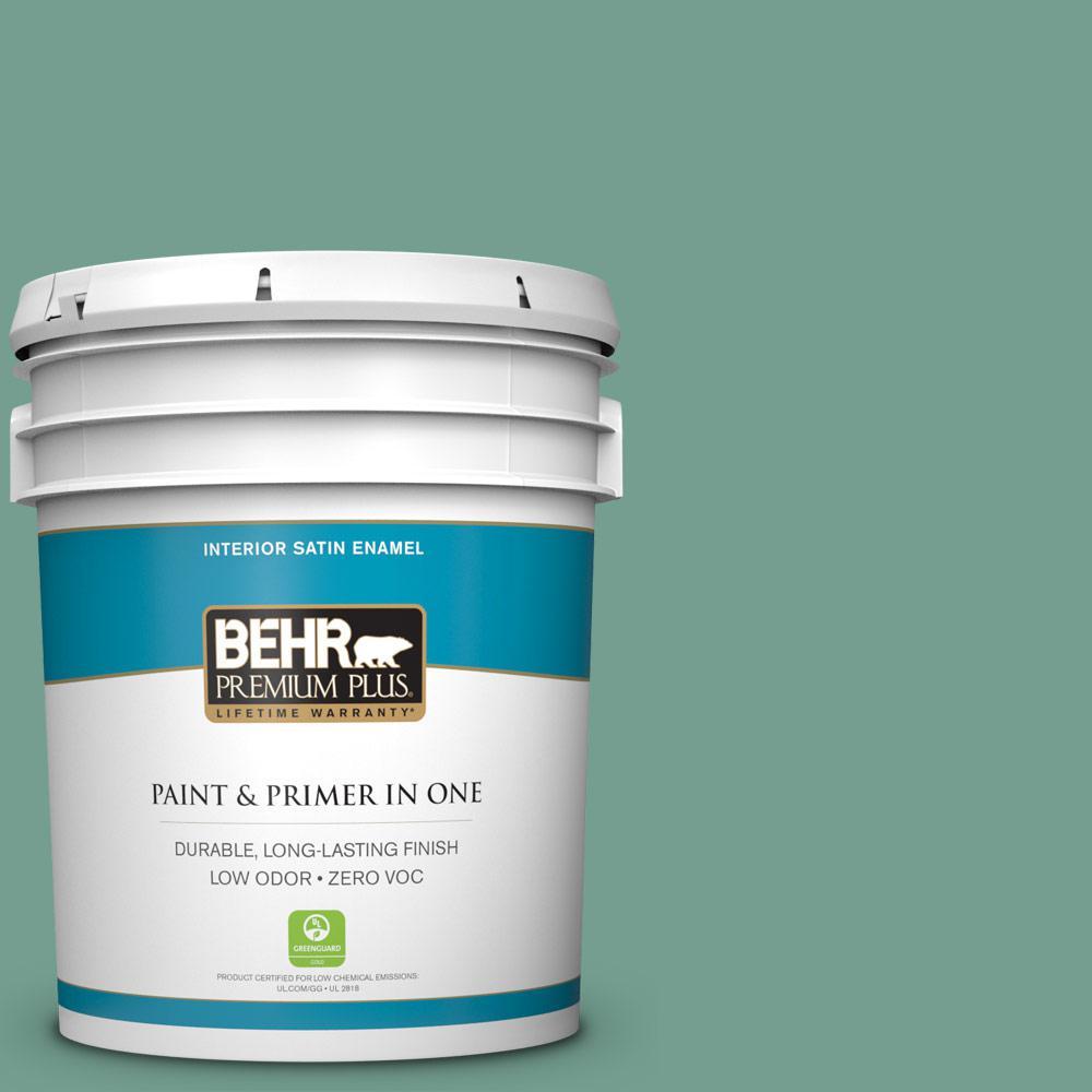 BEHR Premium Plus 5-gal. #M430-5 Regal View Satin Enamel Interior Paint