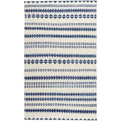 Genevieve Gorder Scandinavian Stripe Natural Blue 9 ft. x 12 ft. Area Rug